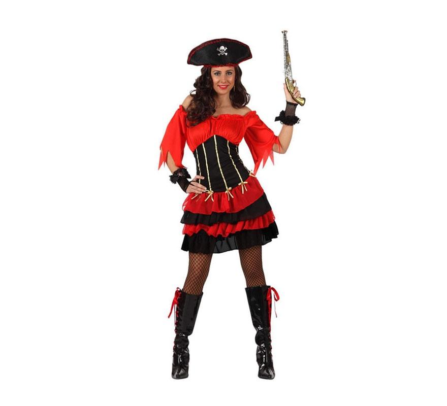 Disfrazde Pirata Sexy con volantes mujer. Talla Standar M-L 38/42. Incluye falda, camisa y gorro. Pistola NO incluida, podrás verla an la sección de Complementos.