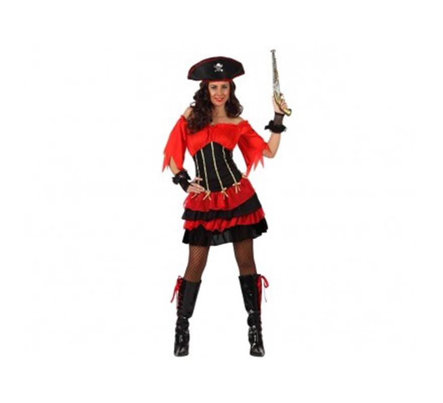 Disfraz de Pirata Sexy con volantes mujer. Talla XL 44/48. Incluye vestido, mangas y gorro. Pistola NO incluida, podrás verla an la sección de Complementos.