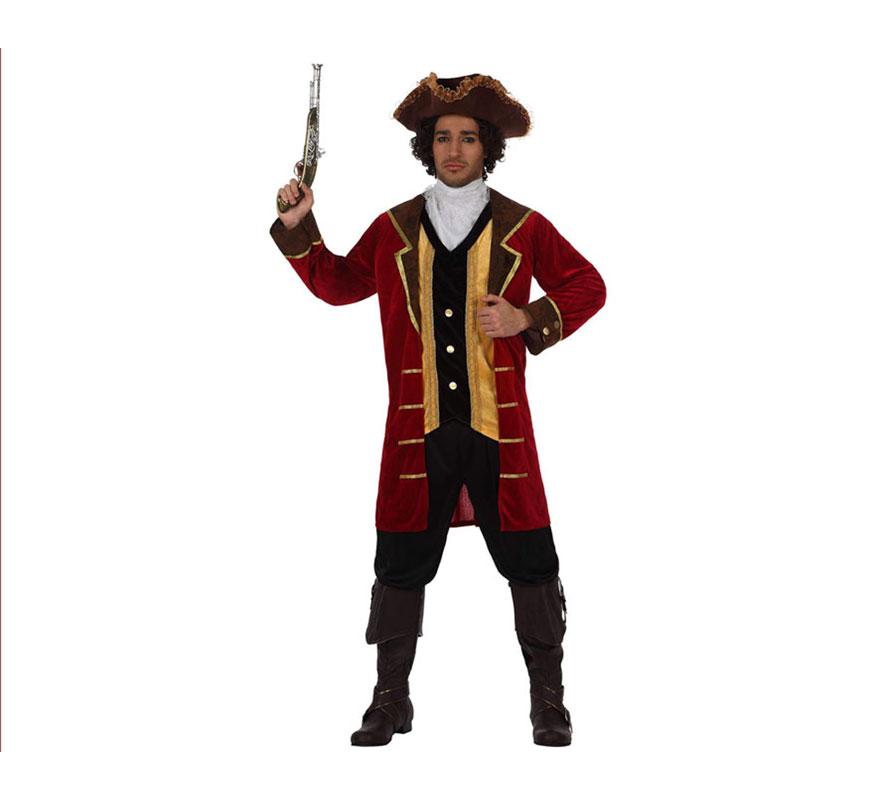 Disfraz del Pirata Capitán Garfio para hombre. Talla 2 ó talla Standar M-L 52/54. Incluye sombrero, pechera y chaqueta con chaleco. Pistola y pantalones NO incluidos, podrás ver la pistola en la sección de Complementos. Éste disfraz es la pareja ideal para el disfraz de Peter Pan.