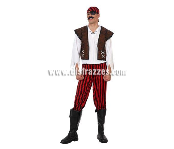 Disfraz de Pirata para hombres. Talla 2 ó talla Standar M-L 52/54. Incluye pañuelo, camisa, chaleco y pantalón. Parche y Cubrebotas NO incluidos, podrás verlos en la sección de Complementos.