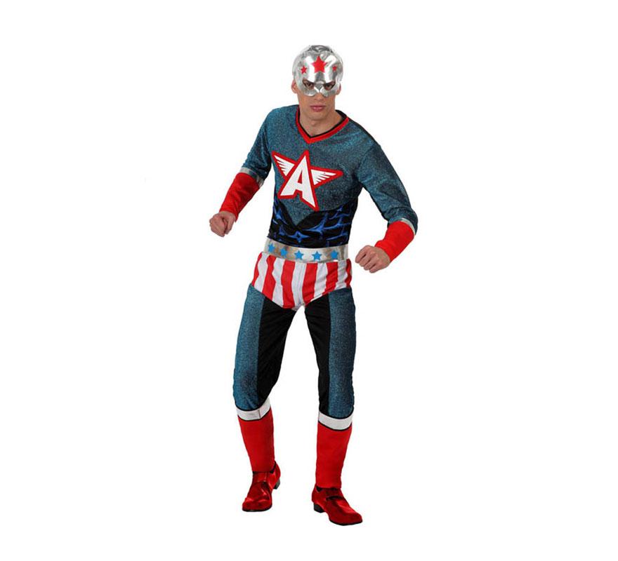 Disfraz de Super Héroe para hombre. Talla Standar M-L 52/54. Incluye disfraz completo SIN zapatos. Con éste disfraz podrás imitar al mismísimo Capitán América y pasar un buen rato en Carnaval.