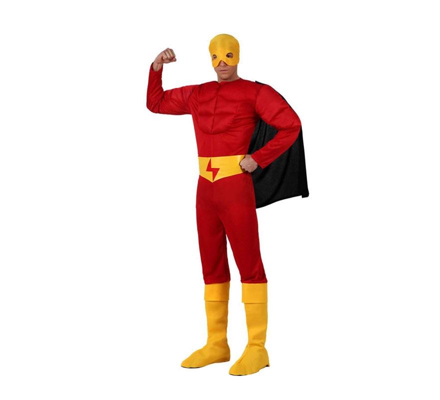 Disfraz de Superhéroe Musculoso rojo para hombre. Talla 2 ó talla Standar M-L 52/54. Incluye mono con músculos, cinturón, capa, antifaz y cubrebotas.