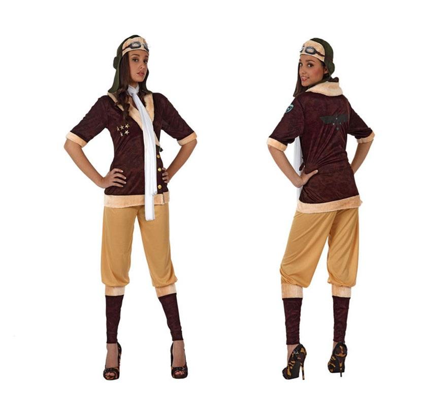Disfraz de Aviadora de Época para mujer. Talla Standar M-L 38/42. Incluye pantalón, camisa, cinta del pelo y pañuelo.