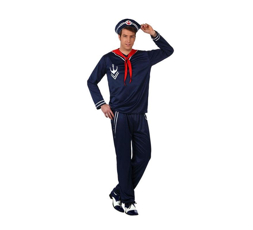 Disfraz de Marinero para hombres. Talla 2 ó talla Standar M-L 52/54. Incluye pantalón, camisa, pañuelo y gorra.