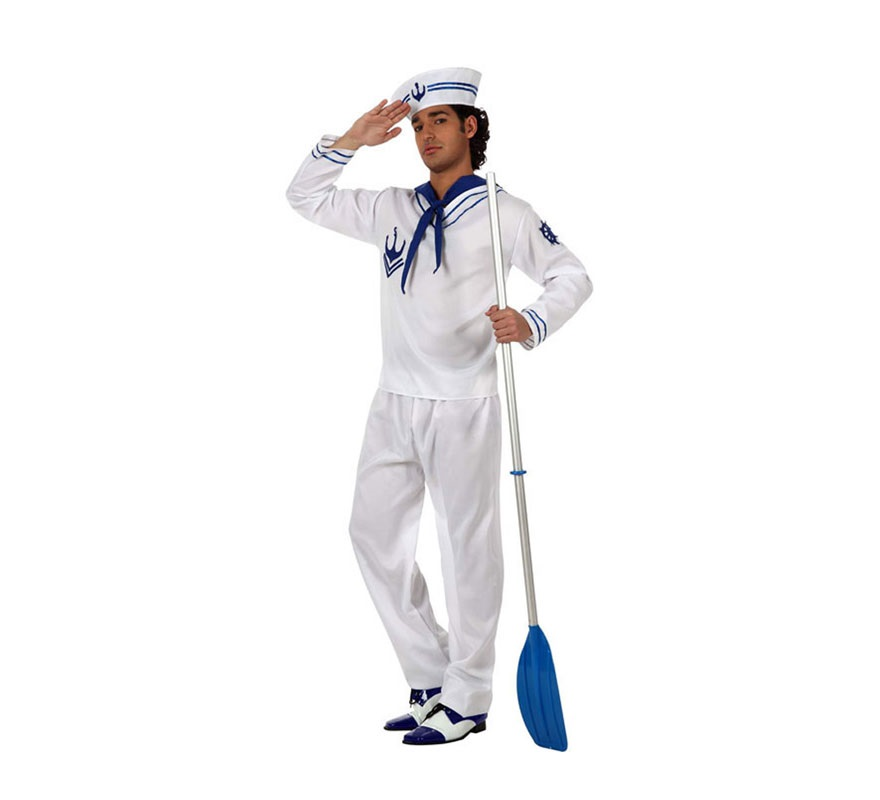 Disfraz de Marinero blanco para hombre. Talla Standar M-L 52/54. Incluye pantalón, casmisa, gorro y pañuelo.
