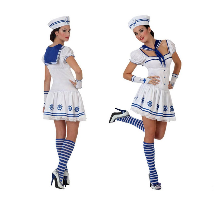 Disfraz de Marinera blanco para mujer. Talla S 34/38 para chicas delgadas o adolescentes. Incluye vestido, guantes, pañuelo y gorro.