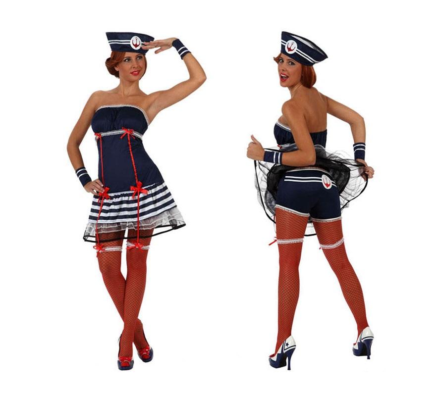 Disfraz de Marinera Sexy para mujer. Talla S 34/38 para chicas delgadas y adolescentes. Incluye liga, vestido, muñequeras y gorro.