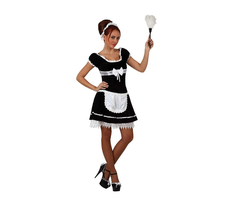 Disfraz de Sirvienta Sexy para mujer. Talla 3 ó talla Standar XL 44/48. Incluye vestido y cinta para la cabeza. Plumero NO incluido, podrás verlo en la sección de Complementos.