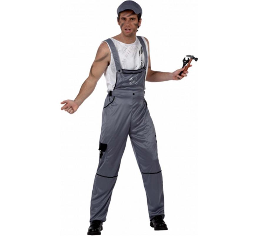 Disfraz de Mecánico para hombre. Talla 2 ó talla Standar M-L 52/54. Incluye camisa, mono y gorra.