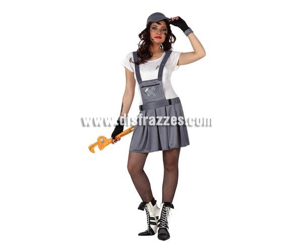Disfraz de Chica Mecánica para mujer Talla 2 ó talla Standar M-L 38/42. Incluye gorra, camiseta, vestido y guantes.