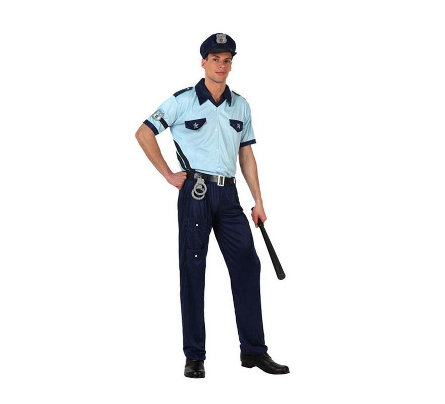 Disfraz de Policía para hombre. Talla S 48/52 para chicos delgados y adolescentes. Incluye camisa, pantalón, cinturón, placa del brazo y gorra. Porra NO incluida, podrás verla en la sección de Complementos.