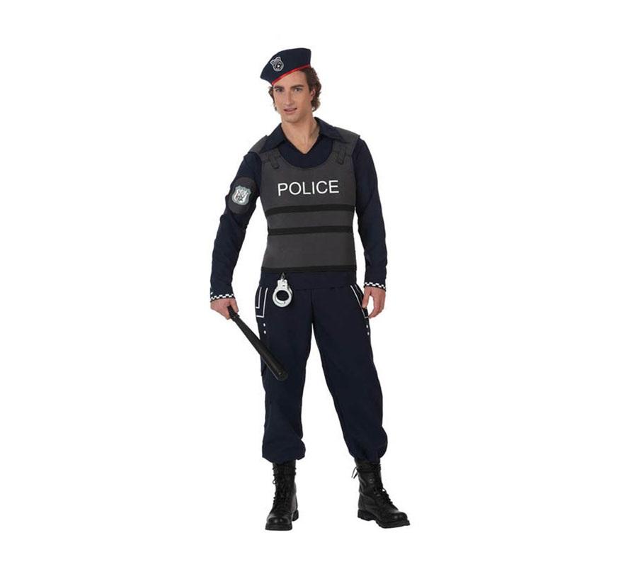 Disfraz de Policía con chaleco antibalas para hombre. Talla XL 54/58. Incluye disfraz completo sin accesorios como la porra y las esposas, que las podrás ver en la sección de Complementos. botas NO incluidas.