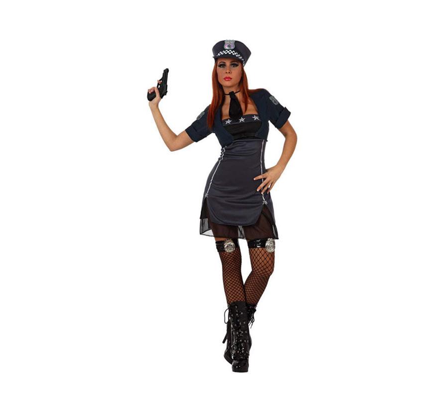 Disfraz de Policía Sexy para mujer. Talla M-L 38/42. Incluye vestido, torera, corbata y gorra. Pistola, Botas y Medias NO incluidas. La Pistola la podrás encontrar en la sección de Complemetos y las Medias en la sección de Guantes y Medias.
