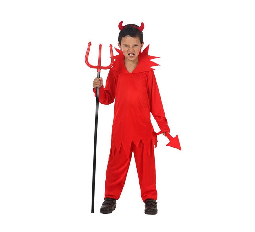 Disfraz de Demonio o Diablo para niños de 5 a 6 años. Incluye camisa, pantalón con rabo y cuernos. Tridente NO incluido, podrás verlo en la sección de Complementos.
