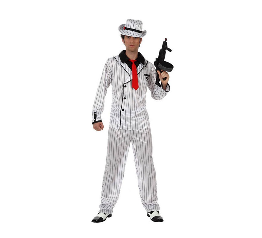 Disfraz de Gánster blanco a rayas para hombre. Talla 2 ó talla Standar M-L 52/54. Incluye gorro, pantalón y chaqueta con camisa y corbata.
