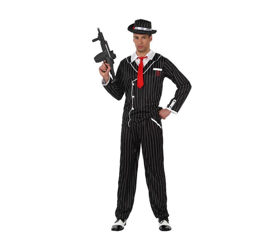 Disfraz de Gánster negro a rayas hombre. Talla M-L 52/54. Incluye disfraz SIN Zapatos y SIN Metralleta. La Metralleta la podrás ver en la sección de Complementos - Armas. Disfraz de Mafioso para hombre.