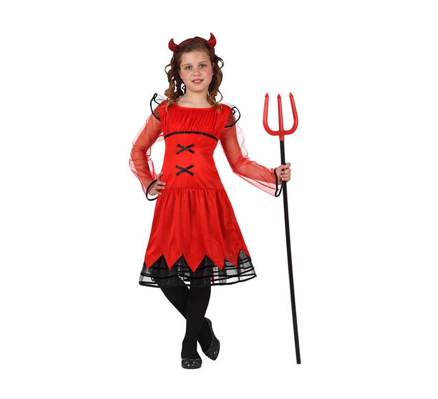Disfraz de Demonia o Diablesa para niñas de 5 a 6 años. Tridente NO incluido, podrás verlo en la sección de Complementos.