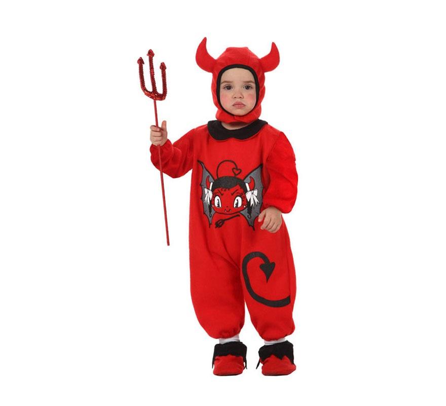 Disfraz de Demonia o Diablesa para bebés niñas de 6 a 12 meses. Incluye peucos, mono y capucha. Tridente NO incluido, podrás verlo en la sección de Complementos.