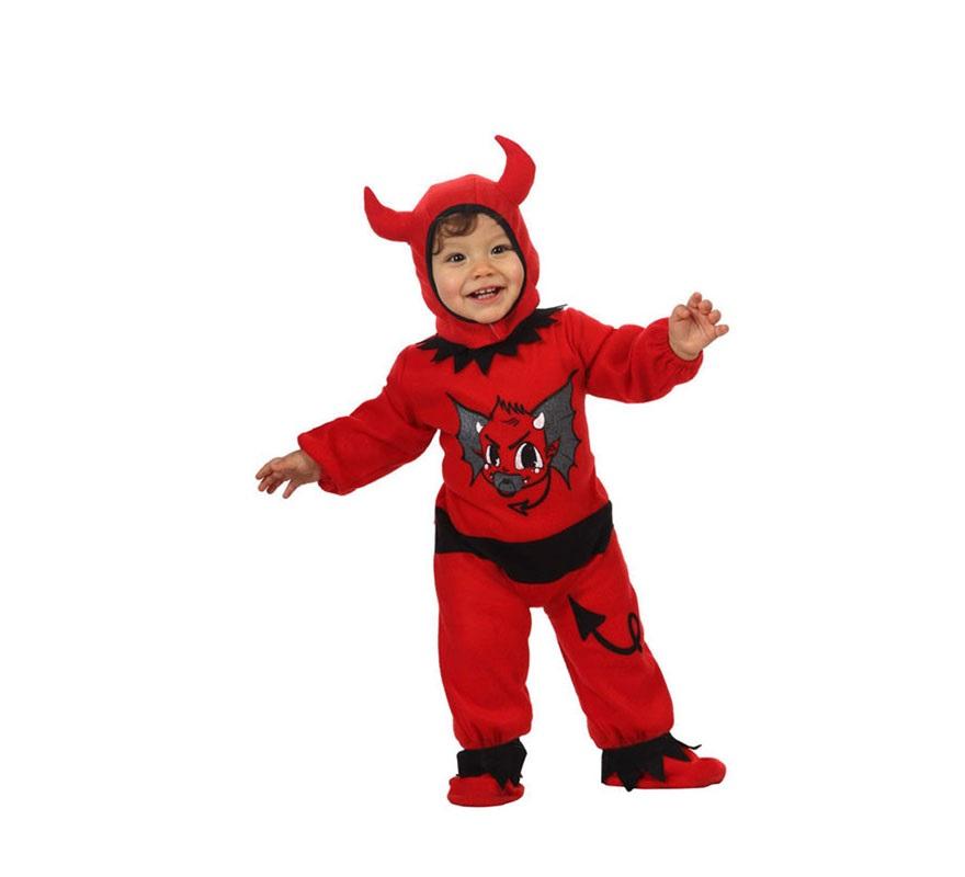 Disfraz de Demonio o Diablo para bebés niños de 0 a 6 meses. Incluye peucos, mono y capucha.