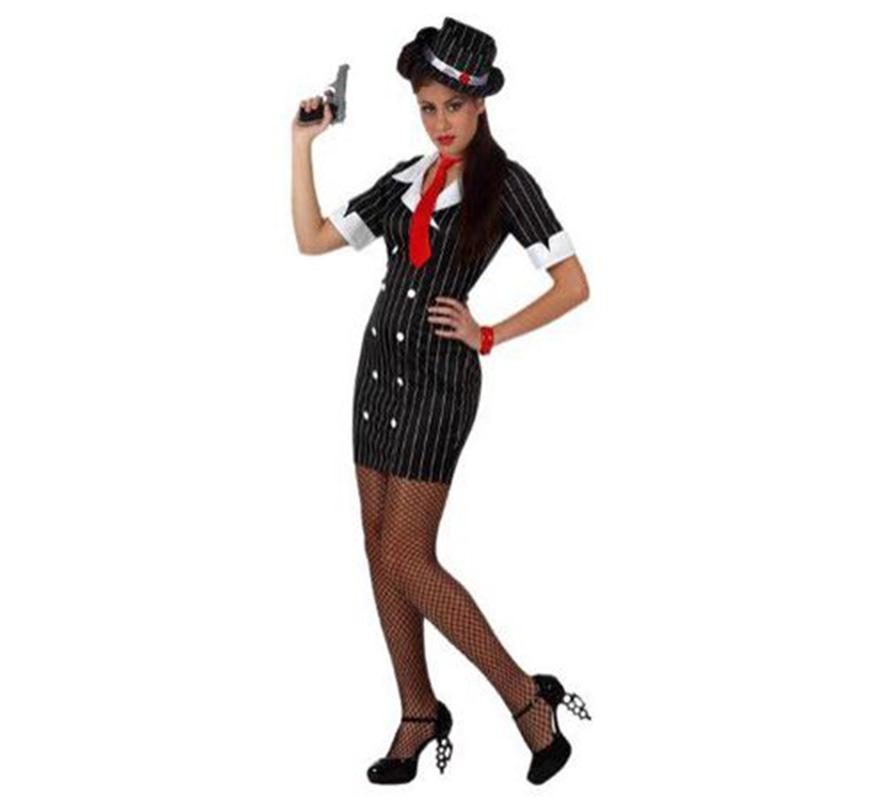 Disfraz de Mafiosa sexy para mujer. Talla S 34/38 para chicas delgadas y adolescentes. Incluye gorro, corbata y vestido. Éste disfraz de Ganster para chicas está muy, pero que muy bien. La pistola NO está incluida pero podrás ver algunos modelos en la sección de Complementos - Armas.