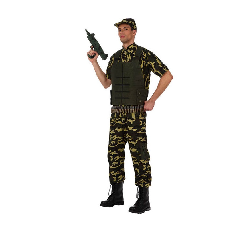 Disfraz de Camuflaje o Militar para hombre. Talla XL 54/58. Incluye pantalón, camisa, chaleco y gorra. Balas y Metralleta NO incluidas, podrás verlas en la sección de Complementos.