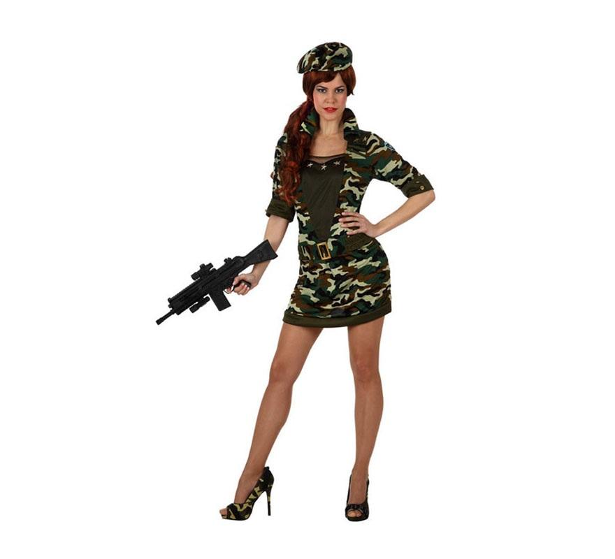 Disfraz de Militar para chicas. Talla S 34/38 para chicas delgadas o adolescentes. Incluye vestido, cinturón y gorra. Zapatos y metralleta NO incluidas, podrás verla en la sección de Complementos.