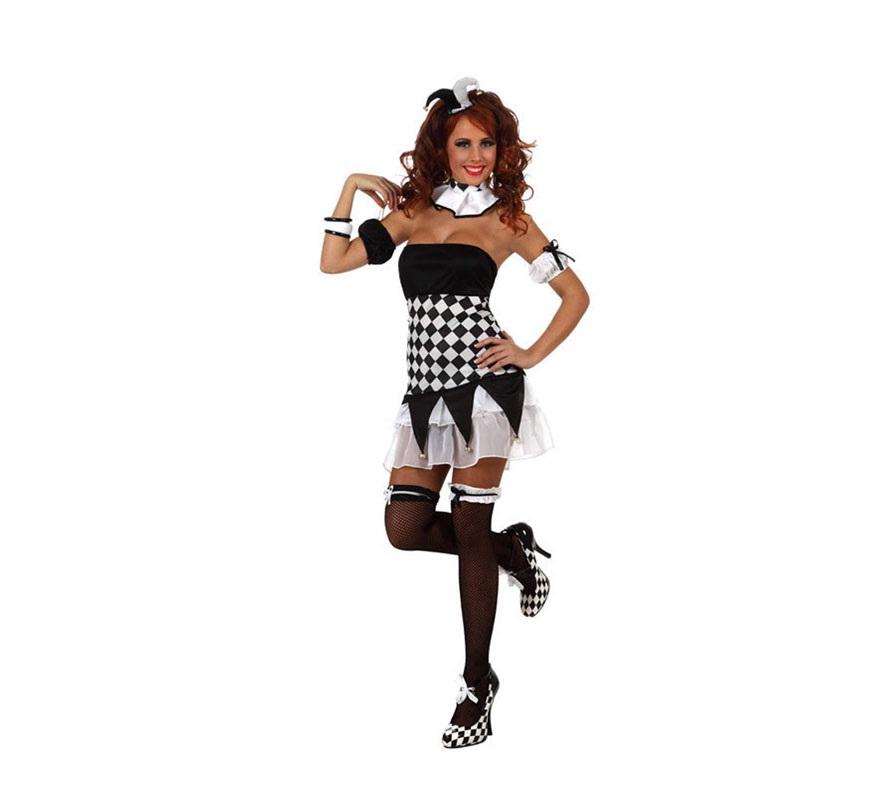 Disfraz de Chica Arlequín para mujer. Talla Standar M-L 38/42. Incluye vestido, liguero, sombrerito, manguitos y cuello.