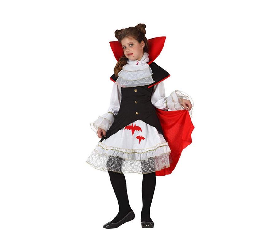 Disfraz de Vampiresa Real para niñas de 7 a 9 años. Incluye disfraz completo SIN medias.