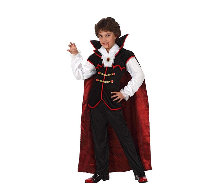 Disfraz de Vampiro Real para niños de 7 a 9 años. Incluye disfraz completo SIN zapatos.