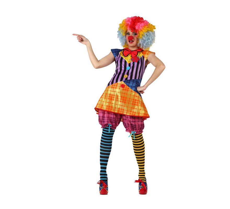 Disfraz de Payasa para mujer. Talla 3 ó talla XL 44/48. Incluye pololos y vestido. Accesorios NO incluidos, podrás verlos en la sección de Complementos.