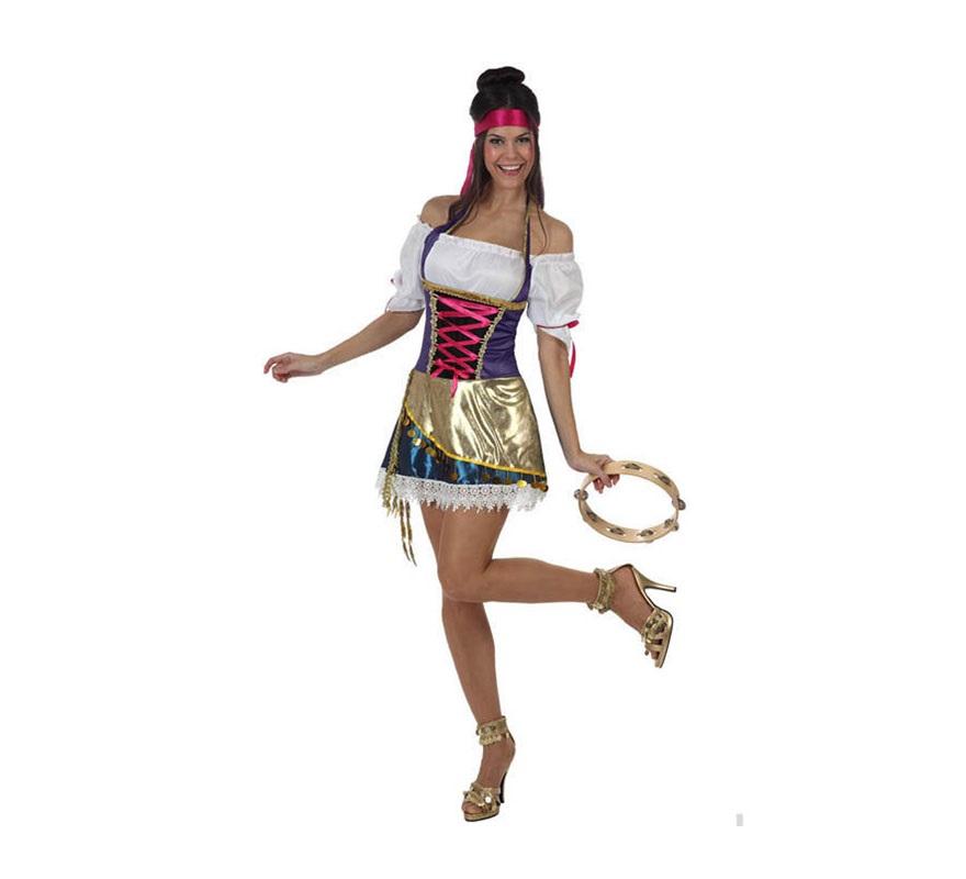 Disfraz Gitana o Zíngara sexy para mujer. Talla 2 ó talla Standar M-L 38/42. Incluye vestido, camisa y cinta. Pandereta NO incluida, podrás verla en la sección de Accesorios..