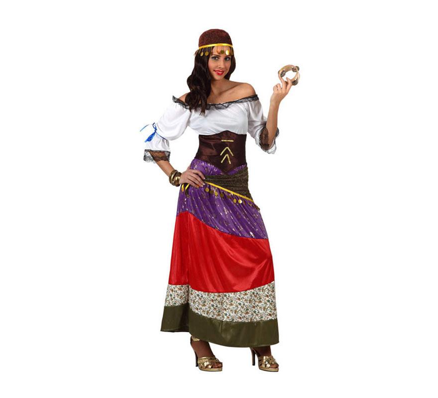 Disfraz de Zíngara o Gitana para mujer. Talla 2 ó talla Standar M-L 38/42. Incluye disfraz y cinta de la cabeza. Pandereta NO incluida, podrás ver algunos modelos en la sección de Complementos.