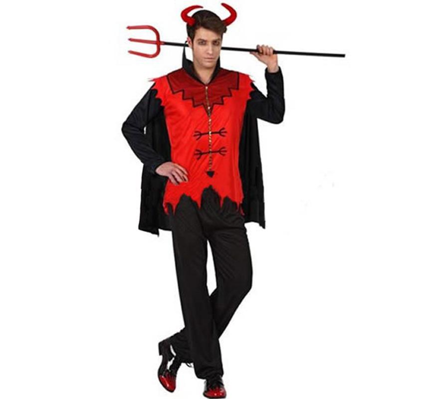 Disfraz de Demonio Malvado para hombre. Talla XL 54/58. Incluye pantalón, camisa y diadema con cuernos. Tridente NO incluido, podrás verlo en la sección de Complementos.