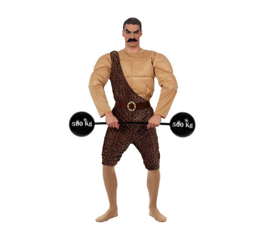 Disfraz de Hombre Forzudo del Circo. Talla 2 ó talla Standar M-L 52/54. Incluye camisa con músculos, mono y cinturón. Las pesas las podrás encontrar en nuestra sección de Accesorios con la ref: 13408AT.
