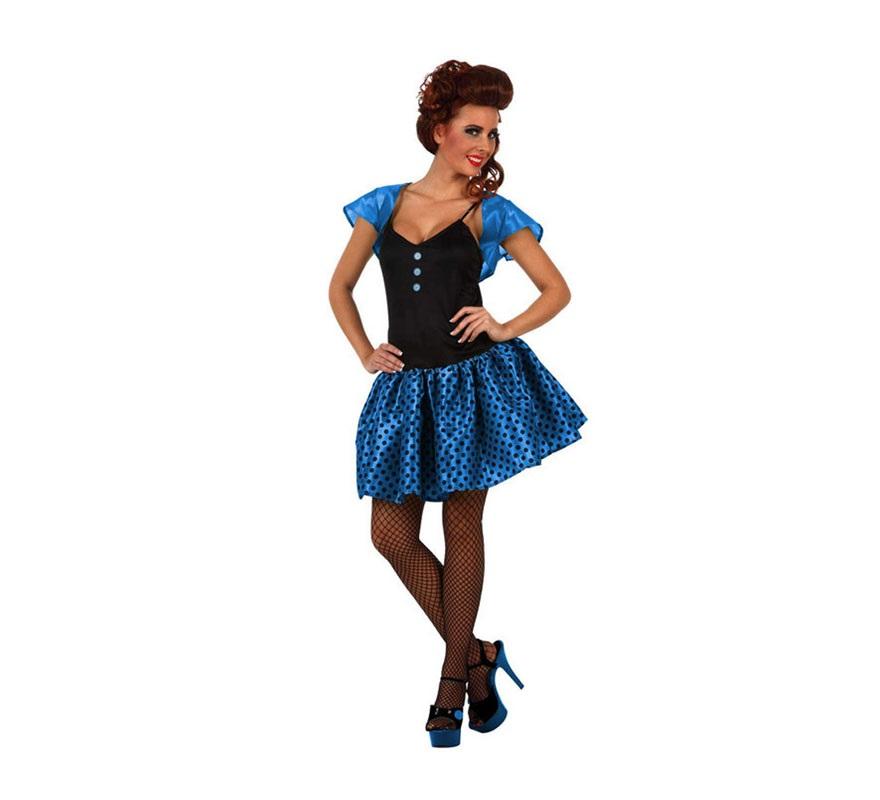 Disfraz de Chica de los años 60 azul para mujer. Talla 2 ó talla Standar M-L 38/42. Incluye vestido y torera.