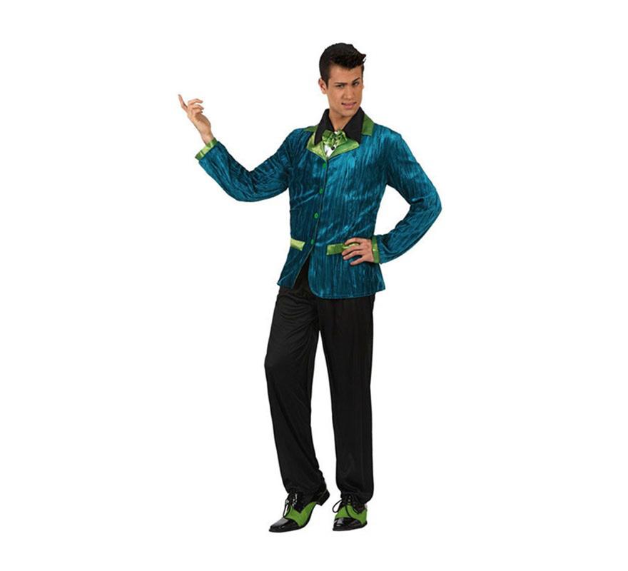 Disfraz de Chico de los Años 60 con detalles de color verde para hombre. Talla 2 ó talla Standar M-L 52/54. incluye chaqueta con camisa y pantalón. Zapatos NO incluidos. Perfecto para disfrazarse de la película Fiebre del Sábado noche y triunfar como un buen Discotequero en cualquier Fiesta.