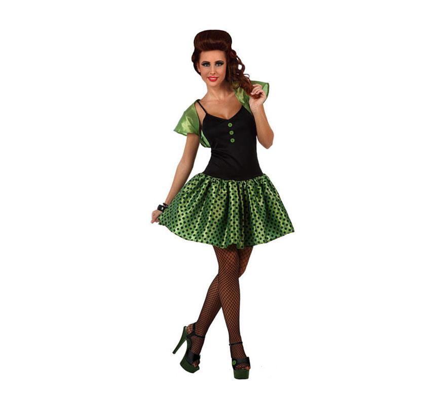 Disfraz de Chica de los años 60 verde para mujer. Talla 2 ó talla Standar M-L 38/42. Incluye vestido y torera.