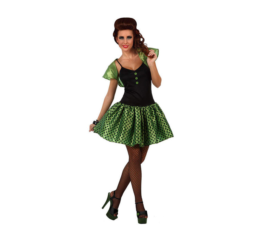 Disfraz de Chica de los años 60 verde para mujer. Talla 3 ó talla XL 44/48. Incluye vestido y torera.