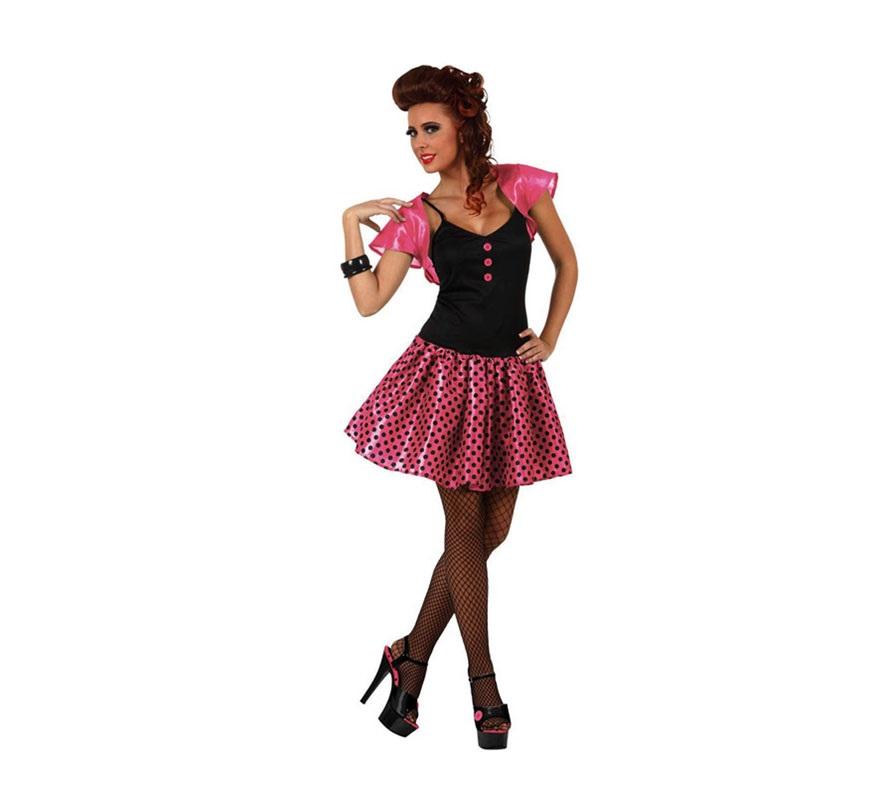 Disfraz de Chica de los años 60 rosa para mujer. Talla 3 ó talla XL 44/48. Incluye vestido y torera.