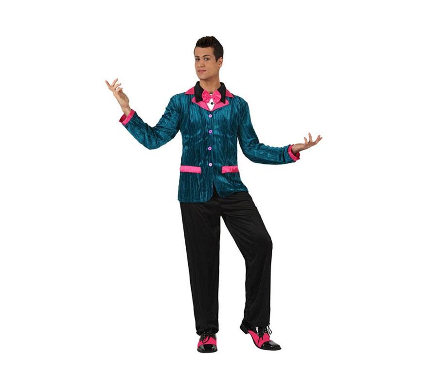 Disfraz de Chico de los Años 60 con detalles de color rosa para hombre. Talla 2 ó talla Standar M-L 52/54. incluye chaqueta con camisa y pantalón. Zapatos NO incluidos. Perfecto para disfrazarse de la película Fiebre del Sábado noche y triunfar en cualquier Fiesta.
