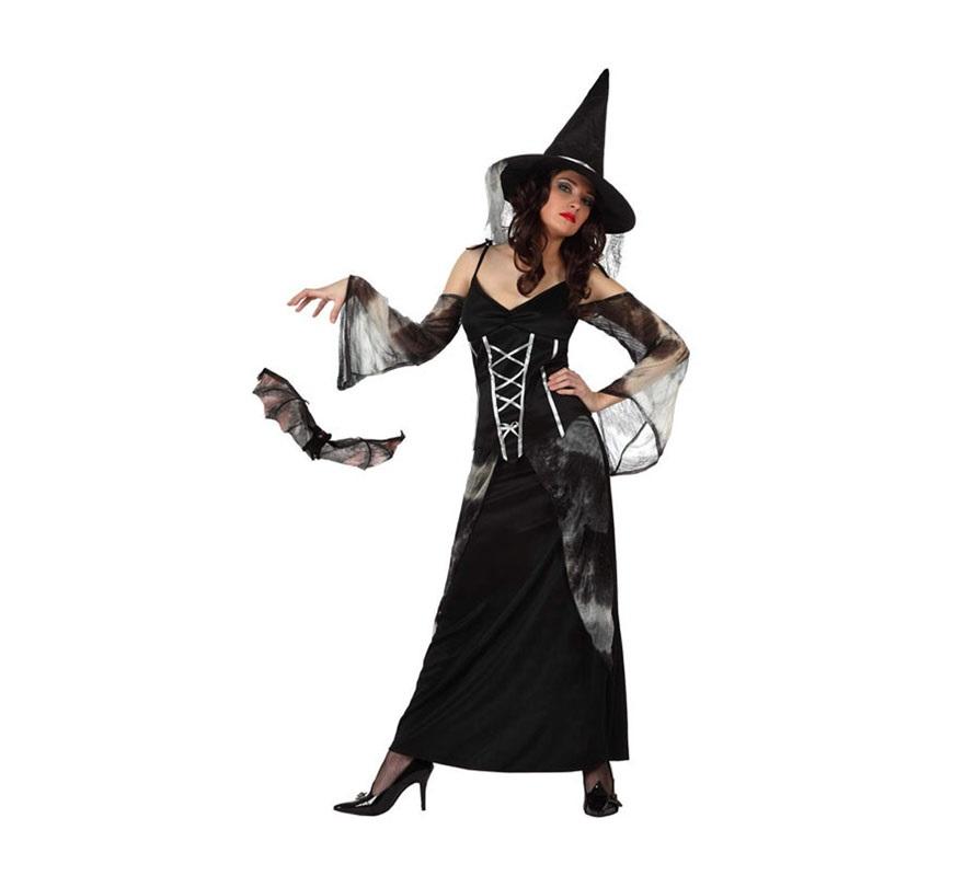 Disfraz de Bruja para mujeres. Talla Standar M-L 38/42. Incluye vestido y sombrero.