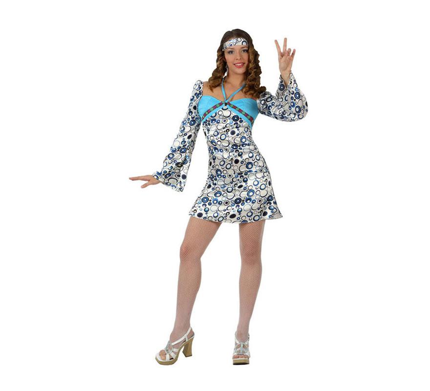 Disfraz de Chica Hippie para mujer. Talla 2 ó talla Standar M-L 38/42. Incluye vestido y cinta de la cabeza.