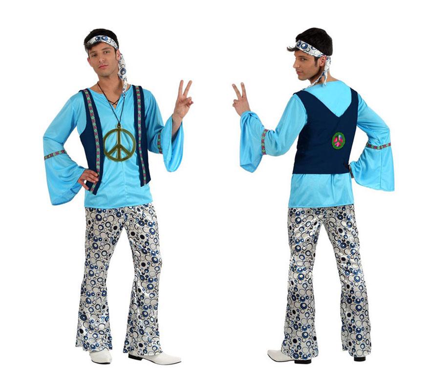 Disfraz de Chico Hippie para hombre. Talla 2 ó talla Standar M-L 52/54. Incluye pantalón, camisa, cinta y chaleco. Collar NO incluido, podrás verlo en la sección de Complementos.