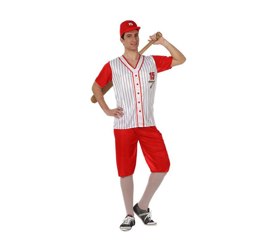 Disfraz Jugador de Béisbol para hombre. Talla 2 ó talla Standar M-L 52/54. Incluye camisa, pantalón y gorra.