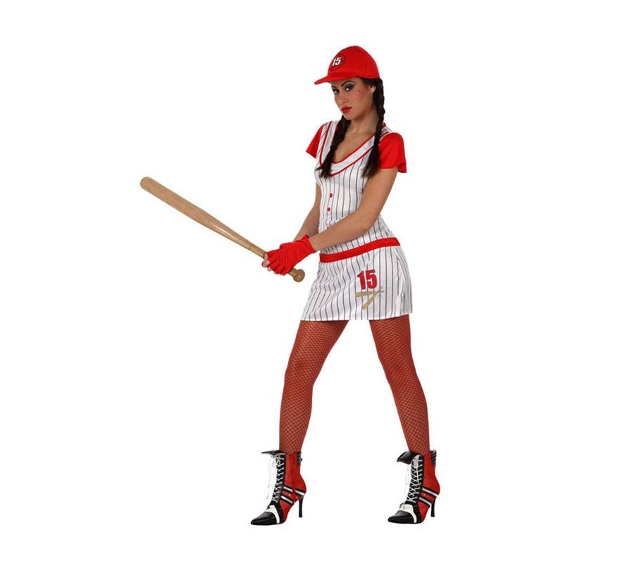 Disfraz Jugadora de Beisbol para mujer. Talla 2 ó talla Standar M-L 38/42. Incluye vestido, gorra y guantes.
