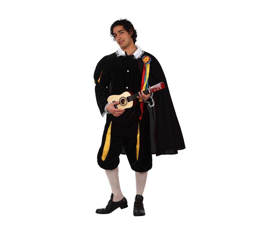 Disfraz de Tuno para hombres. Talla 3 ó talla XL 54/58. Incluye disfraz completo sin medias ni guitarra. Perfecto para Despedidas de Soltero.