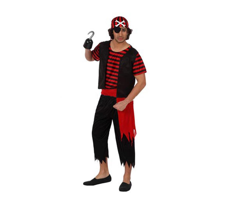 Disfraz de Pirata para hombre. Talla 2 ó talla Standar M-L 52/54. Incluye camiseta, chaleco, pantalón, pañuelo para la cabeza y pañuelo para la cintura. Garfio y parche NO incluidos, podrás verlos en la sección de Complementos.