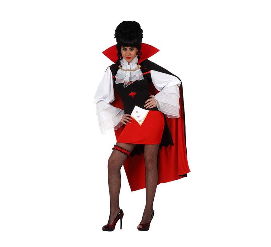 Disfraz de Vampiresa sexy para mujer. Talla Standar M-L 38/42. Incluye disfraz completo SIN liga ni medias.