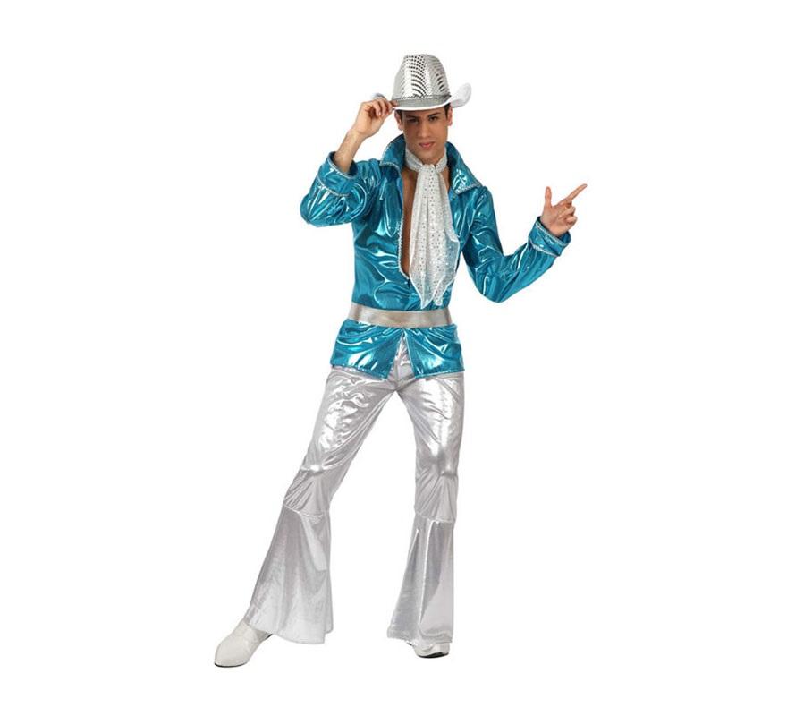 Disfraz Chico Disco azul para hombre. Talla 2 ó talla Standar M-L 52/54. Incluye disfraz completo SIN sombrero, podrás ver sombreros en la sección de Complementos.