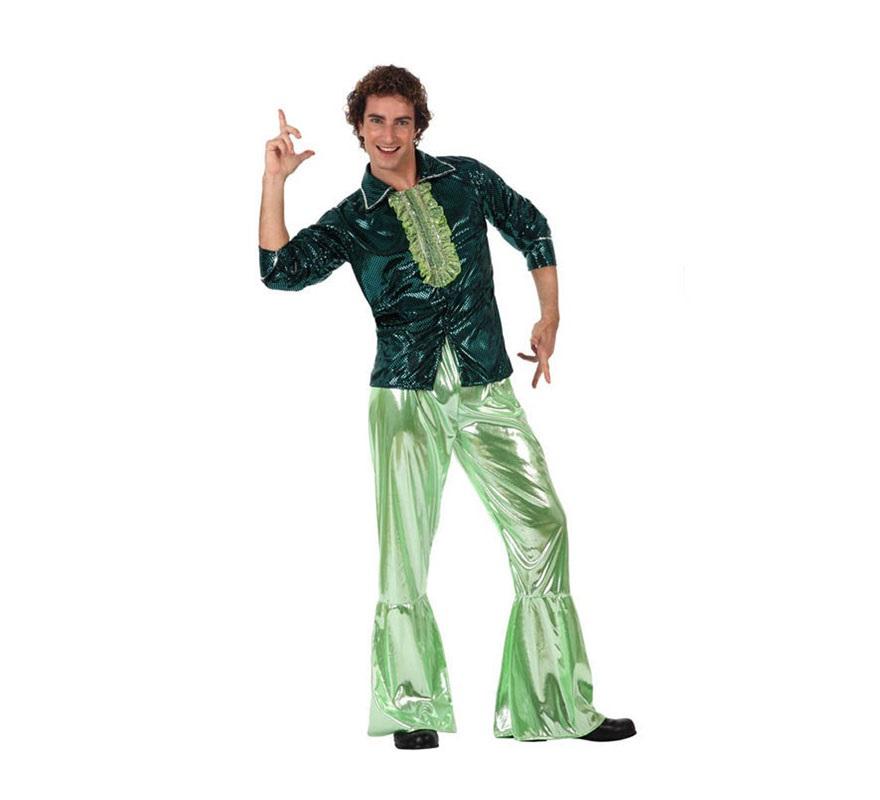 Disfraz de Chico de la Disco verde para hombre. Talla 2 ó talla Standar M-L 52/54. Incluye pantalón y camisa. Éste disfraz de Discotequero es ideal para revivir los éxitos del mítico grupo musical ABBA.